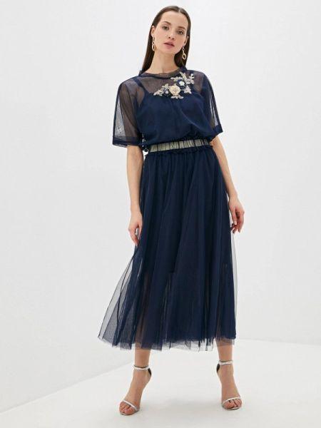 Вечернее платье осеннее синее Vera Moni