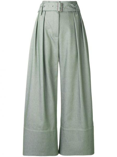 Деловые расклешенные укороченные брюки с карманами мятные Eudon Choi