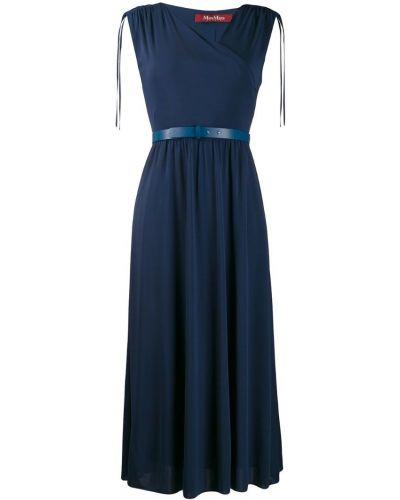 Платье с V-образным вырезом - синее Max Mara Studio