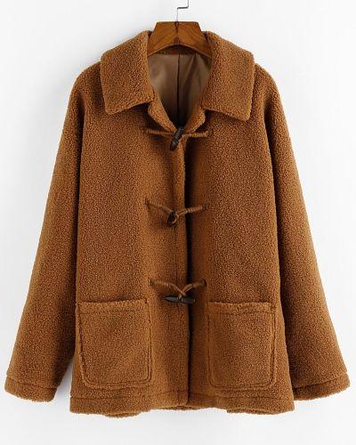Горчичное пальто с карманами Zaful