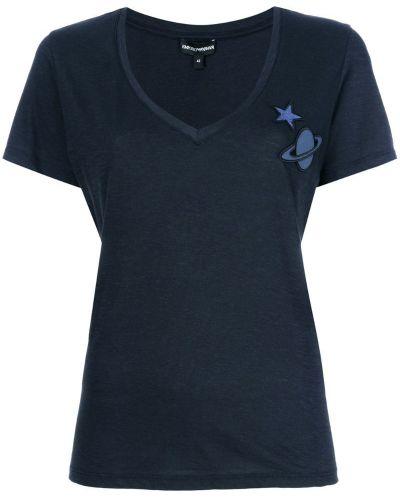 Синяя хлопковая футболка Emporio Armani