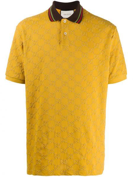 Żółty bawełna prosto koszula krótkie z krótkim rękawem z haftem Gucci