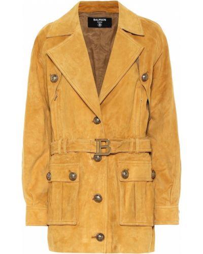 Замшевая коричневая куртка Balmain