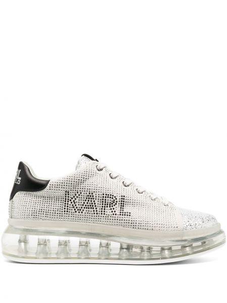 Biały skórzany sneakersy okrągły nos na pięcie Karl Lagerfeld