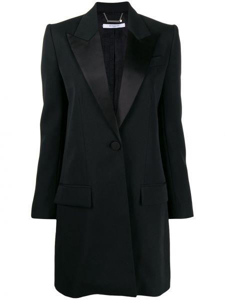 Шерстяное черное пальто классическое с капюшоном Givenchy