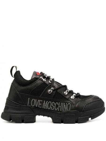 Кожаные черные кроссовки сетчатые на шнуровке Love Moschino
