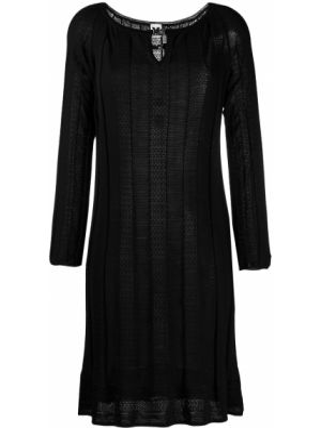 Черное платье макси с длинными рукавами из вискозы круглое Missoni Pre-owned
