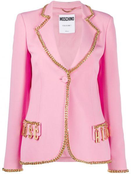 Розовый пиджак с карманами на пуговицах Moschino