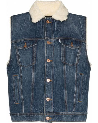 Синяя джинсовая куртка с вышивкой Filles A Papa