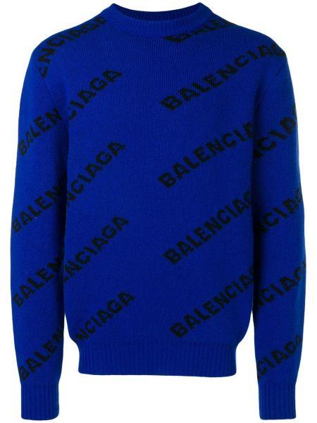 Sweter wełniany żakard Balenciaga