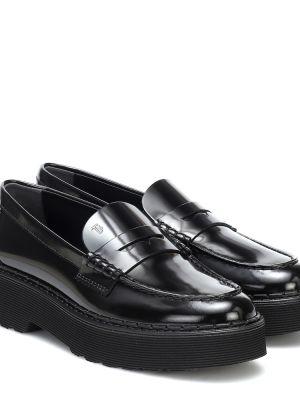 Кожаные черные лоферы для обуви на платформе Tods