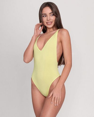 Слитный купальник желтый фиолетовый Love Pam