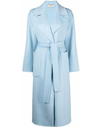 Синее шерстяное длинное пальто свободного кроя Michael Michael Kors
