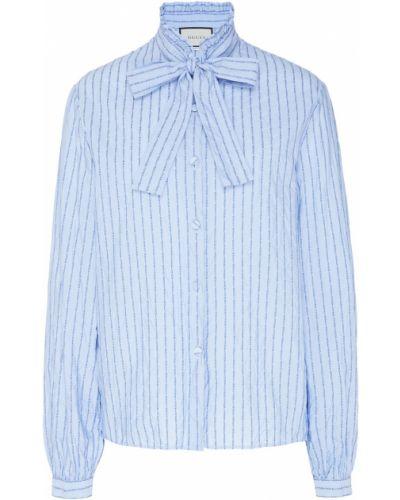 Блузка в полоску с бантом Gucci