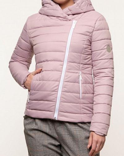 Прямая розовая куртка с капюшоном каляев