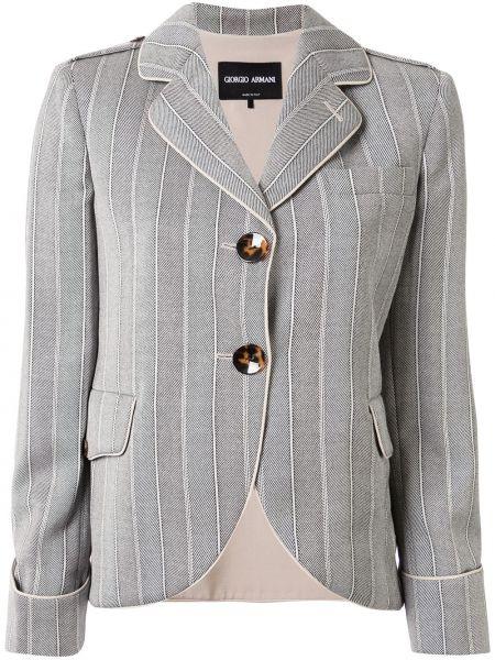 Однобортный серый пиджак с карманами Giorgio Armani