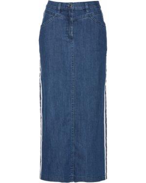Джинсовая юбка макси с карманами Bonprix