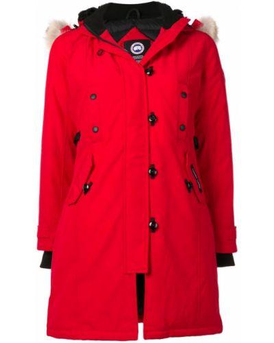 Пальто с капюшоном свободное красное Canada Goose