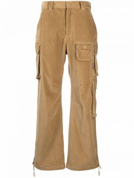 Spodnie sztruksowe - brązowe Palm Angels
