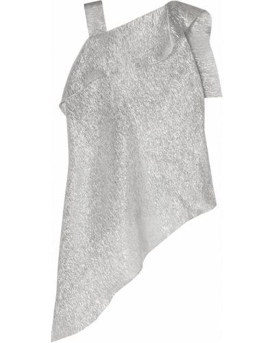 Асимметричная серебряная шелковая блузка Roland Mouret