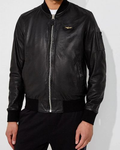Кожаная куртка черная Aeronautica Militare