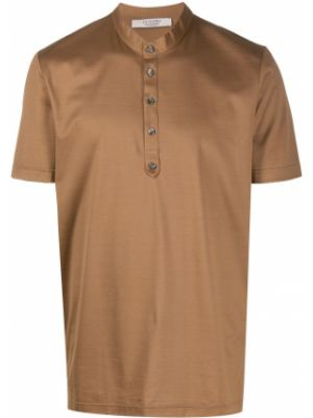 Коричневая прямая рубашка с короткими рукавами с воротником на пуговицах La Fileria For D'aniello