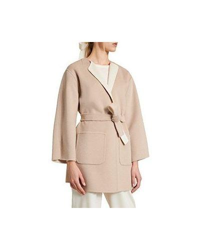 Бежевое шерстяное пальто Luisa Spagnoli