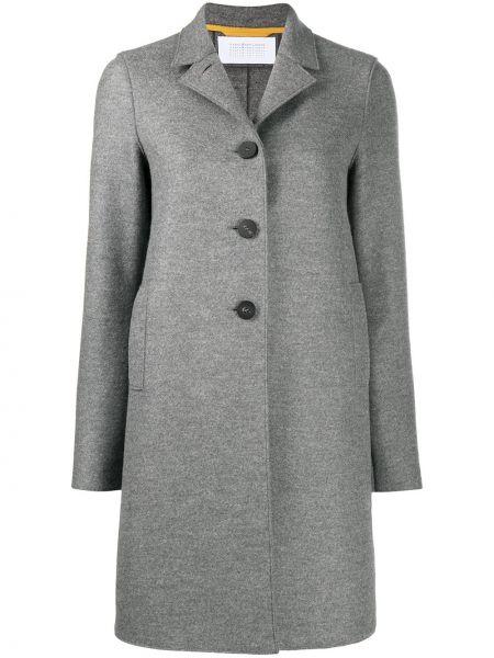 Однобортное шерстяное серое длинное пальто с воротником Harris Wharf London