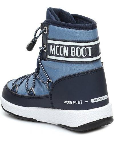 Niebieski nylon miejski zimowy buty Moon Boot Kids