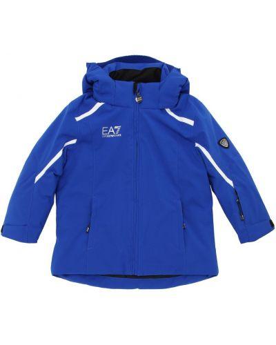 Нейлоновая куртка горнолыжная на кнопках с капюшоном Ea7 Emporio Armani