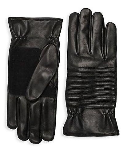 Prążkowane czarne rękawiczki skorzane Portolano