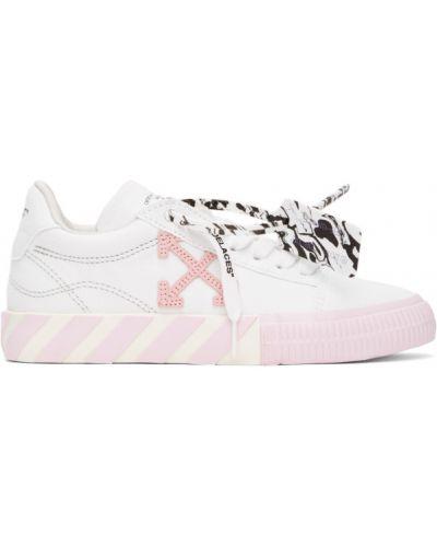 Белые кроссовки на каблуке на шнурках Off-white