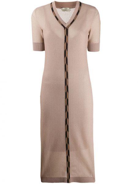 С рукавами трикотажное платье миди в рубчик Fendi