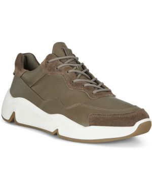 Коричневые текстильные кроссовки с подкладкой на шнурках Ecco
