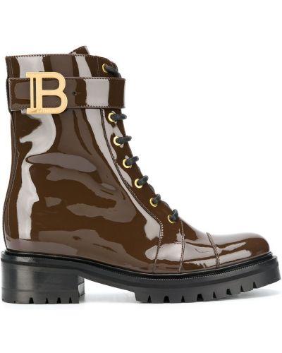Золотистые коричневые ботинки на каблуке на шнуровке на каблуке Balmain