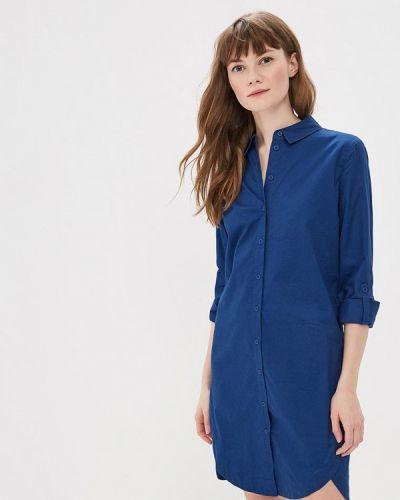 Платье платье-рубашка синее Sela