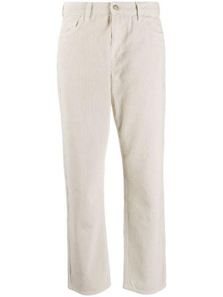 Белые укороченные брюки с карманами вельветовые с заплатками Ba&sh
