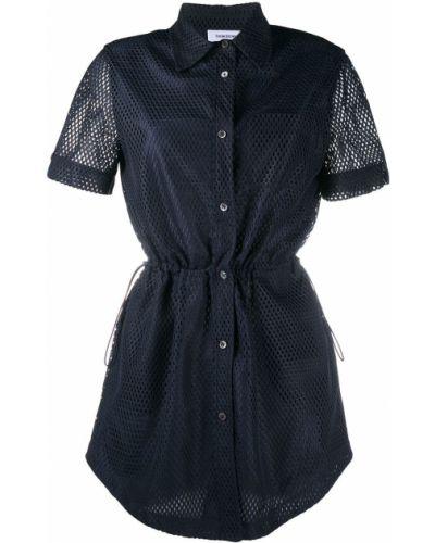 Klasyczna niebieska sukienka mini krótki rękaw Thom Browne