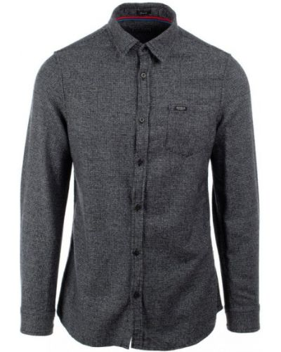 Szara koszula jeansowa bawełniana z długimi rękawami Guess