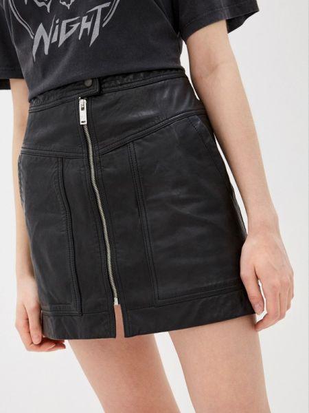 Джинсовая юбка кожаная черная Pepe Jeans