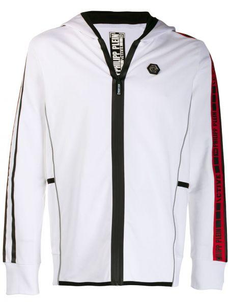 Prążkowana biała kurtka sportowa bawełniana Philipp Plein