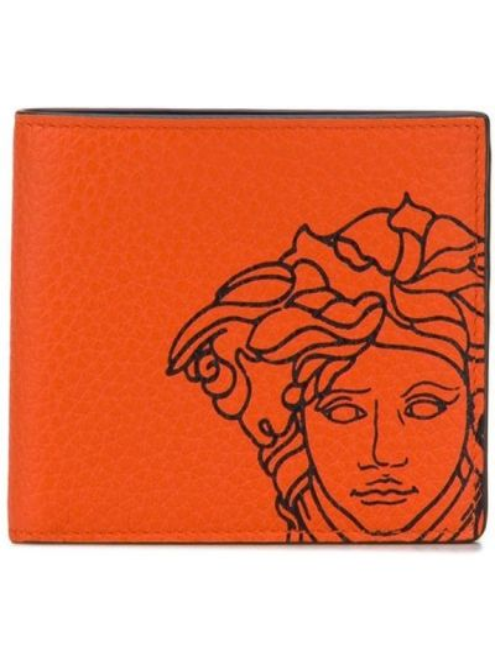 Skórzany portfel z logo Versace
