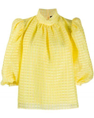 Свободная желтая прямая блузка с воротником Stine Goya