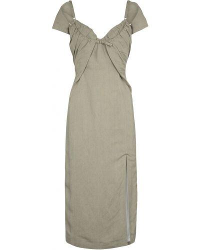 Льняное теплое зеленое платье миди Jacquemus
