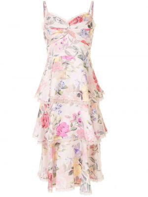 Белое платье миди без рукавов в цветочный принт Marchesa Notte