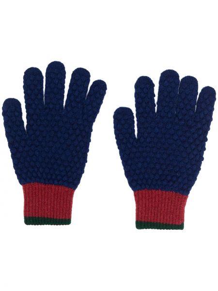 Prążkowane niebieskie rękawiczki wełniane Ps Paul Smith