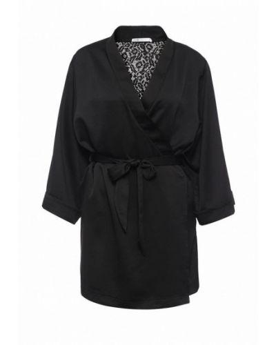 Черный халат домашний Oodji