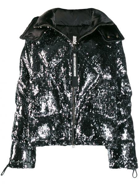 Черная куртка с капюшоном с пайетками As65