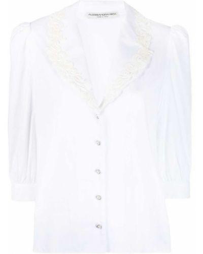 Biała koszula koronkowa z długimi rękawami Alessandra Rich