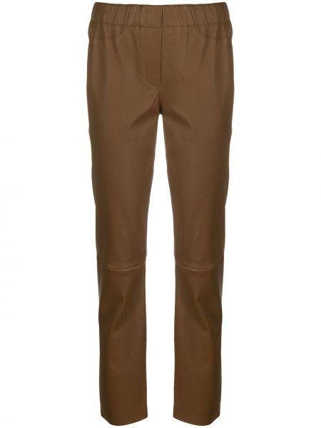 Коричневые кожаные спортивные брюки с поясом Luisa Cerano